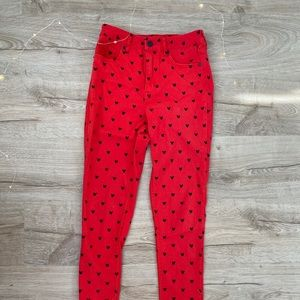 Forever 21 Disney Mickey Mouse Print Skinny Jeans